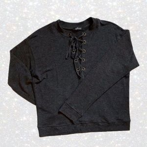 MENDOCINO Lace-Up Neck Grey Sweater Top